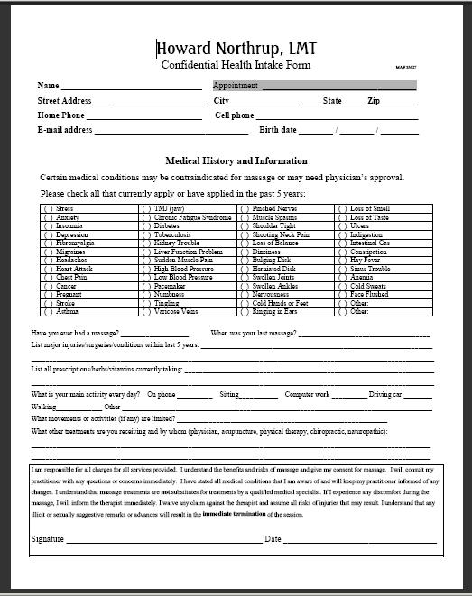 Howard Northrup Lmt  Client Intake Form